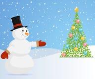 Boneco de neve do Natal que convida à árvore de Natal. ilustração do vetor