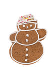 Boneco de neve do pão-de-espécie do Natal isolado em um fundo branco Fotos de Stock Royalty Free