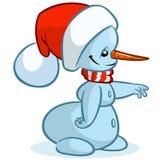 Boneco de neve do vetor do Natal com chapéu de Santa e o lenço listrado no fundo branco Imagens de Stock