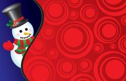 Boneco de neve do vetor em um fundo retro Fotos de Stock Royalty Free