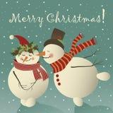 Boneco de neve dois bonito no amor ilustração royalty free