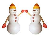 Boneco de neve dois engraçado Fotografia de Stock
