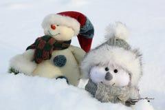 Boneco de neve dois feliz Fotos de Stock Royalty Free