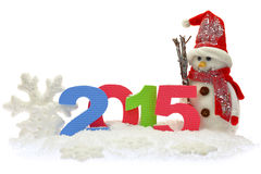 Boneco de neve e ano novo 2015 Imagens de Stock Royalty Free