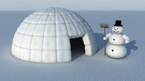 Boneco de neve e Igloo Fotografia de Stock Royalty Free