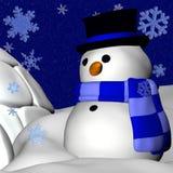 Boneco de neve e Igloo Imagens de Stock