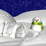 Boneco de neve e Igloo Imagem de Stock