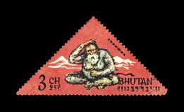 boneco de neve e montanhas, Butão, cerca de 1966, Foto de Stock Royalty Free