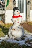 Boneco de neve e mudança climática em Montreal imagens de stock