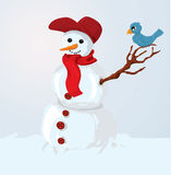 Boneco de neve e pássaro ilustração royalty free