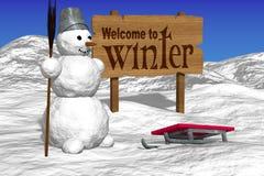 Boneco de neve e placas que cumprimentam Boa vinda ao inverno Imagem de Stock Royalty Free