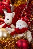 Boneco de neve e rena Imagem de Stock