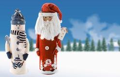 Boneco de neve e Santa Imagem de Stock Royalty Free