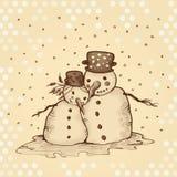 Boneco de neve e sua amiga no amor Foto de Stock Royalty Free