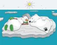 Boneco de neve e urso bronzeados na banquisa de gelo Fotografia de Stock Royalty Free