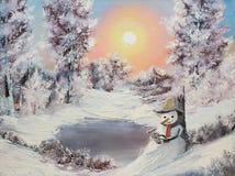 Boneco de neve em linha Imagens de Stock