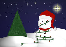 Boneco de neve em luzes de Natal Imagem de Stock