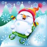 Boneco de neve em mitenes de um arco-íris em um trenó Foto de Stock