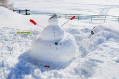 Boneco de neve em montanhas Fotos de Stock Royalty Free