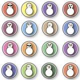 boneco de neve 16 em um fundo colorido Fotos de Stock