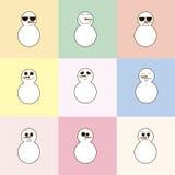 boneco de neve 9 em um fundo colorido Imagem de Stock Royalty Free