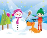 Boneco de neve em um inverno ilustração stock