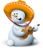 Boneco de neve em um sombreiro Imagens de Stock Royalty Free