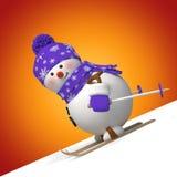 boneco de neve engraçado bonito do esqui 3d ilustração royalty free