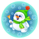 Boneco de neve engraçado no chapéu do inverno com sino do ouro Foto de Stock