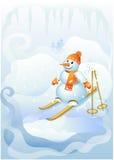Boneco de neve a esquiar Foto de Stock Royalty Free