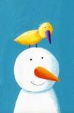 Boneco de neve feliz com pássaro amarelo Fotografia de Stock