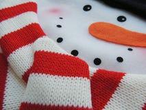 Boneco de neve de feltro com o lenço feito malha por feriados do Natal Imagem de Stock
