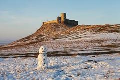 Boneco de neve na citadela de Histria no Mar Negro, Romênia Imagem de Stock