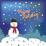 Boneco de neve na floresta do inverno Fotografia de Stock
