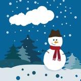 Boneco de neve na floresta do inverno Foto de Stock