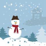 Boneco de neve na floresta do inverno Fotos de Stock