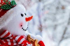 Boneco de neve na neve Fotos de Stock Royalty Free
