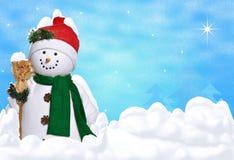 Boneco de neve na neve do inverno ilustração stock