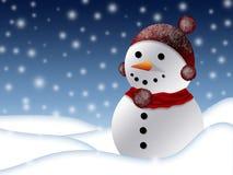 Boneco de neve na paisagem invernal Foto de Stock Royalty Free