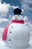 Boneco de neve nas nuvens Fotos de Stock Royalty Free