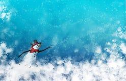 Boneco de neve nevado contra um fundo invernal de Ble Foto de Stock Royalty Free