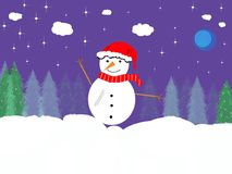 Boneco de neve no branco Foto de Stock Royalty Free