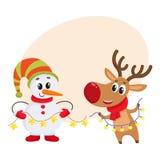 Boneco de neve no chapéu e nos mitenes com a rena do Natal no lenço ilustração do vetor
