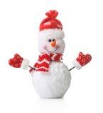 Boneco de neve no chapéu vermelho do xmas isolado Imagens de Stock Royalty Free