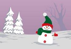 Boneco de neve no fundo da ilustração do vetor do campo de neve Foto de Stock