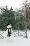 Boneco de neve no futebol Fotos de Stock Royalty Free