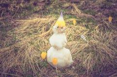 Boneco de neve pequeno na grama com açafrões nas montanhas altas Foto de Stock Royalty Free