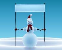 Boneco de neve que bandeira Fotografia de Stock Royalty Free