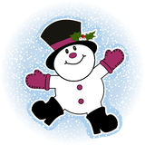 Boneco de neve que faz o anjo da neve Fotos de Stock Royalty Free