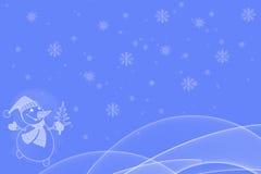 Boneco de neve que guarda pouca árvore de Natal com Fotos de Stock